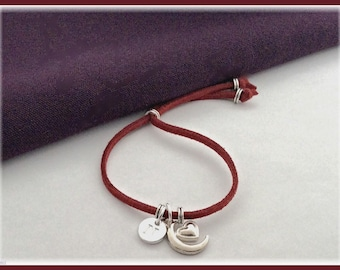 Moon cord bracelet, moon charm bracelet, personalized moon heart bracelet, boho bracelet, heart gifts, moon gifts, moon jewelry