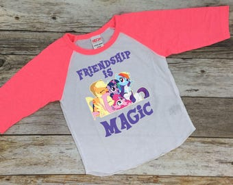 Friendship Is Magic. My Little Pony Shirt. My Little Pony Birthday Shirt. My Little Pony theme. My Little Pony.Long sleeve my little pony.