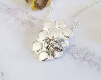 Bee necklace, Fine silver bee necklace, bee jewelry, honeybee necklace, bee gift, bumblebee necklace, bumblebee necklace, honeycomb necklace