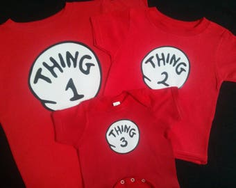 Thing 1 Thing 2 3 4 5 9 16 etc. 3 month to Adult 5X Thing One Thing Two Custom Too