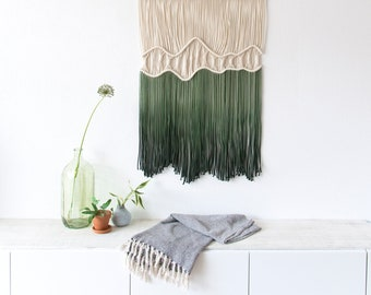 "Fiber Wall Art - Large Macrame Wall Hanging - Macrame Wall Art - Macrame Patterns - Wall Tapestry - Dip-dye Tapestry -  Japan -""Deep Roots"""