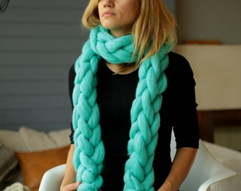 Super chunky chain scarf, New Year gift for her, Chunky scarf, Bulky scarf, Oversized Scarf, Knitted scarf,Chunky cowl