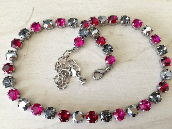Camellias n Chrome Pink & Gray Crystal Collar Necklace