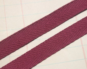 """Twill Tape Trim CRANBERRY - Cotton Twill Ribbon - Sewing Bunting Banners - 1/2"""" Wide - 6 Yards"""