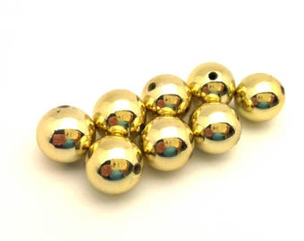 Lot Of 8 Pcs 14.0 mm Round Balls Connector For Necklaces  Huge Beads Supplies Golden Color