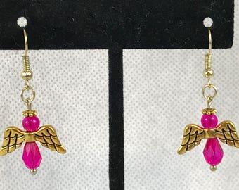 Pink Guardian Angel Gold Tone Dangle Pierced Earrings New Gift
