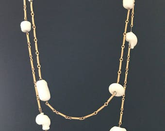Miriam Haskell style, Vintage milk glass and bar chain multi strand necklace