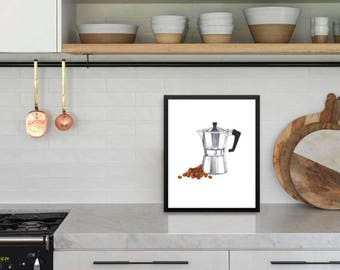 Coffee Lovers Collection ~ Moka Pot ~ Classic Italian Espresso ~ Available with Framing ~ Free Shipping ~ Great Gift Idea