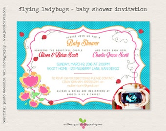 Bright Colors - Ladybug/Bees Baby Shower Invitation - With or without photo - Colors Changeable