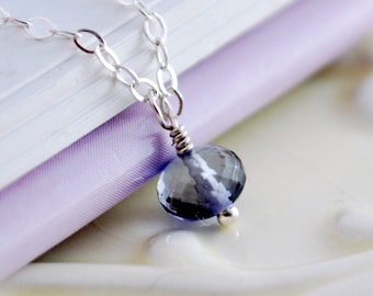 AAA Iolite Water Sapphire Necklace Children Girl Child Navy Real Gemstone Wire Wrapped Simple Sterling Silver Jewelry