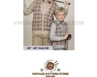 "Mans boys 1980s, V neck, fair isle raglan waistcoat & Cardigan in DK - 26"" - 44"" chest - Vintage PDF Knitting Pattern 1712"