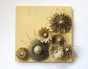 Paper Wall Sculpture - Paper Cogs Panel No5 - Book Paper Collage on Birch Plywood - Neutral Home Decor - Contemporary Art Recycled Book Art