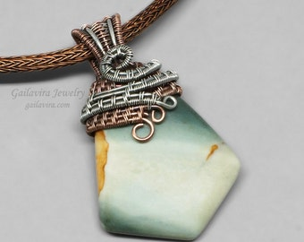 Green Jasper, Sterling Silver and Copper Mixed Metal Pendant on Leather and Viking Knit Necklace