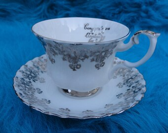 Vintage Royal Albert 25th Anniversary Bone China Teacup and Saucer, England