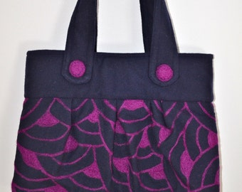 Purse Felted Navy Blue Plum Shoulder Bag