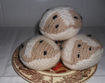 Easter knitted hot cross buns