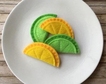 felt fruit slices, felt play food lemon, felt food lime, felt play food fruit slices, toy fruit, play kitchen food fruit