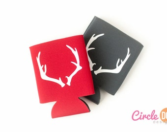 Antlers Can Cooler - Personalized Beer/Soda Can Hugger, suited for coworker gift exchange, guy friend, white elephant swap, hunter, country