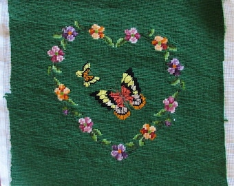 Vintage Green Heart & Butterfly Needlepoint 13 x 13 - Unused - Stool cover, pillow top