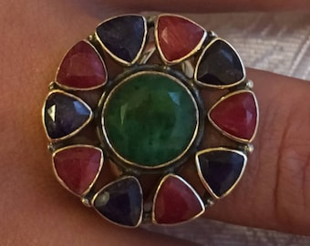 Ring 925 sterling silver, natural Emerald Ruby Sapphire stones / size 57