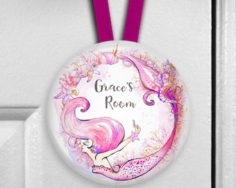 Mermaid door hanger - girl's bedroom decor - mermaid decor for girls room - birthday gift for daughter - HAN-PERS-13