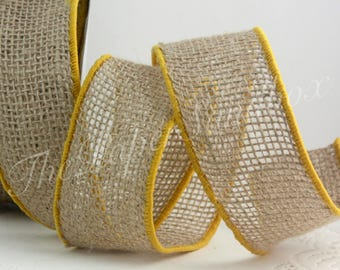 """Wired Burlap Ribbon/Yellow Border, 2"""" wide by the yard"""