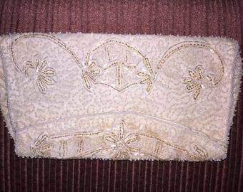 Vintage Beaded Ivory satin clutch purse