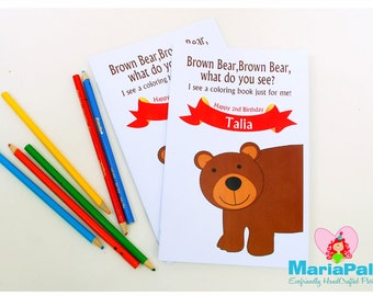 6 Brown Bear What do you see? Coloring Books, Animals Party Personalized Coloring Books Party Favors  A1011