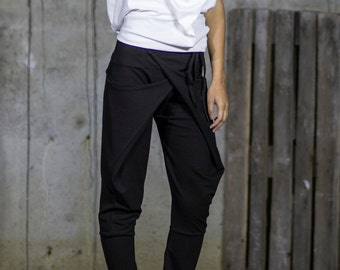 Black Extravagant Harem Pants | Drop Crotch Tapered Pants | Wrap Front Trousers | Criss Cross Tight Trousers by Silvia Monetti