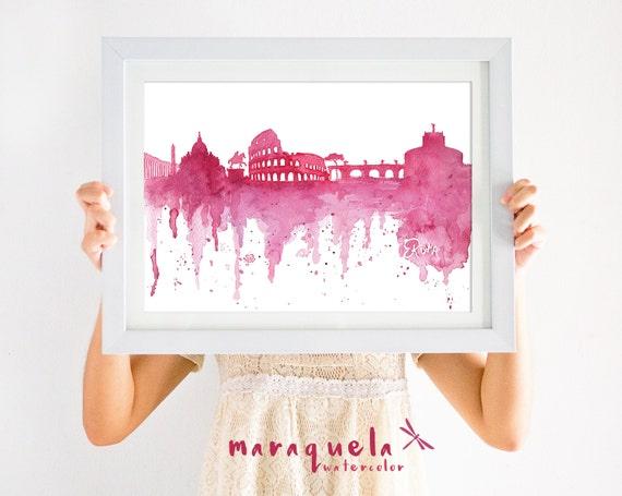Skyline de Roma - Ilustracion en acuarela - Tonalidades rojo vino