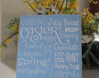 Easter (subway art) Wooden Sign . . .  - Wooden Sign - Wooden Easter Sign