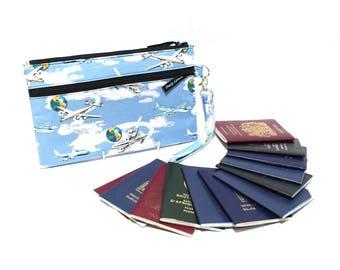 Family Travel Wallet With Zipper - Large Family Passport Holder - Multiple Passport Wallet - Travel Document Holder - Boarding Pass Holder