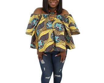 African Top,  Off shoulder top, African print off shoulder, African clothing, Ankara Off Shoulder, Ankara Top,  African top