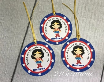 Super Hero Girl Favor Tags