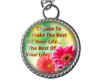 Life Necklace, Inspirational Quote Image Pendant Key Chain Handmade