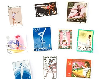 10 x Gymnastics postage stamps - from 10 countries, used, off paper, all different - Gymnast Bars Rings Floor Pommel - for collecting, craft