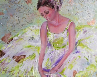 Ballerina oil painting, original ballerina art,ballerina sitting,ballet painting,ballet wall art,figurative painting,dance painting