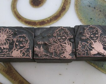 Vintage Letterpress Printers Blocks Set of Three Little Gardens