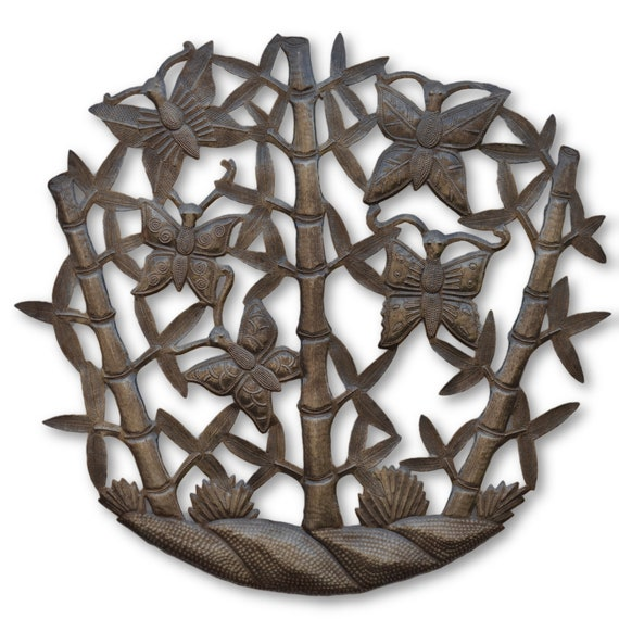 Bamboo Butterflies, Reclaimed One-of-a-Kind Art, Handcrafted Metal Sculptures, 22 x 23