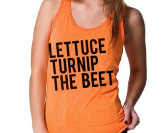 SALE - Lettuce turnip the beet ® trademark brand OFFICIAL SITE - neon orange tank top with logo - unisex sizes - music festival, edm shirt