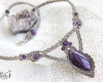 Macrame necklace with Amethyst quartz/macrame necklace with amethyst/Bohemian jewelry/Boho/Elven Fairy Festival