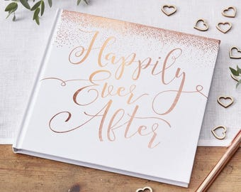 Rose Gold Happily Ever After Guest Book, Rose Gold Wedding Guest Book, Rose Gold Guest Book, Party Guest Book, Rose Gold Guest Sign Book