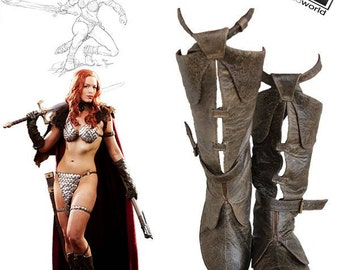 Custom leather boots and gloves based on Red Sonja