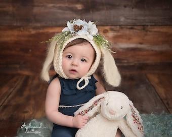 Flower Bonnet, Floral Bonnet, Garden Bonnet, Bunny Bonnet, Sitter Bonnet, Fall Bonnet, Christmas Bonnet, Baby Photo Prop Newborn Photo Prop,