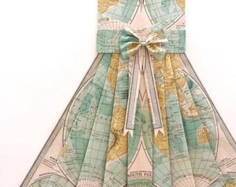 "LARGE Map of the World Hand Folded Map Dress - Teal / Light Blue - 24"" x 36""  - Nursery Wall Decor Art"