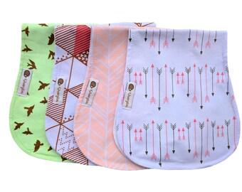 Kinderglück Organic Baby Burp Cloths Set Baby Girl Burp Cloths Pink Arrows and Birds Set Organic Baby Burp Cloths