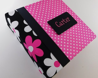 Baby Book for Girl Photo Album Hot pink Black Flower Polka Dot Baby Memory Book School 4x6 5x7 8x10 Picture or Pregnancy Journal