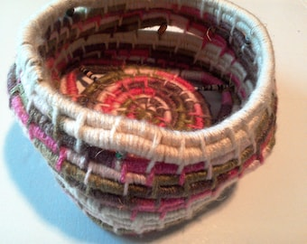 Pink, Beige Coiled Basket