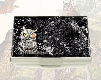 Large Business Card Case Steampunk Gear Cog Owl Metal Wallet Sci Fi Inspired Hand Painted Enamel Onyx with Silver Splash