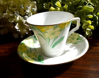Radfords Fine Bone China Tea Cup and Saucer, Yellow Floral Motif, Gold Gilt, England